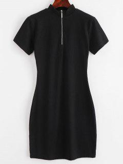 ZAFUL Ribbed Half Zip Bodycon Dress - Black M