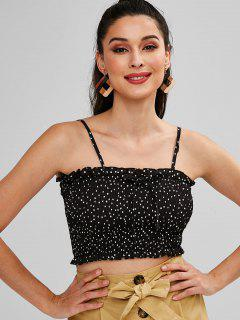 ZAFUL Smocked Dotted Tank Top - Black L