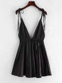 Backless Satin Tie Shoulder Pajama Dress - Black L