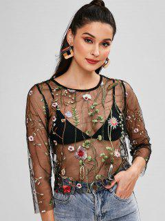 Floral Embroidered Sheer Tulle Top - Black M