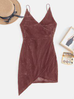 Mini Robe De Soirée à Bretelle Ouvert En Arrière En Velours - Rouge Haricot L