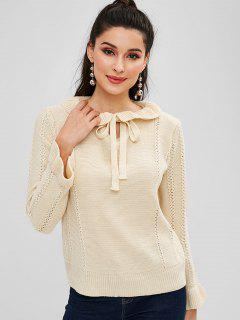 Ruffles Bow Tie Pullover Sweater - Warm White