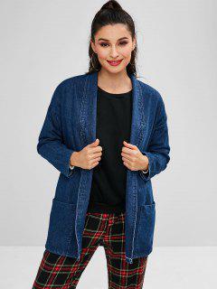 Shawl Collar Denim Coat - Blue