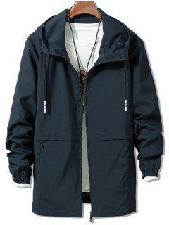 Solid Zipper Windbreaker Jacket - Blue 3xl