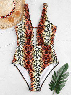 ZAFUL Tiger Striped Plunge One-piece Swimsuit - Multi-a S