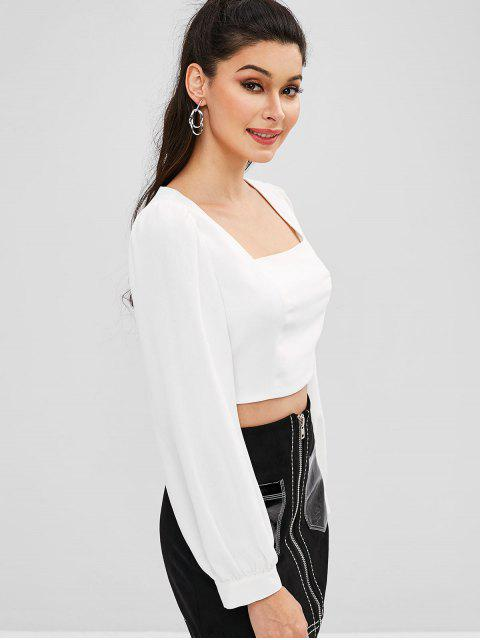 women ZAFUL Crop Square Neck Tied Back Blouse - WHITE M Mobile