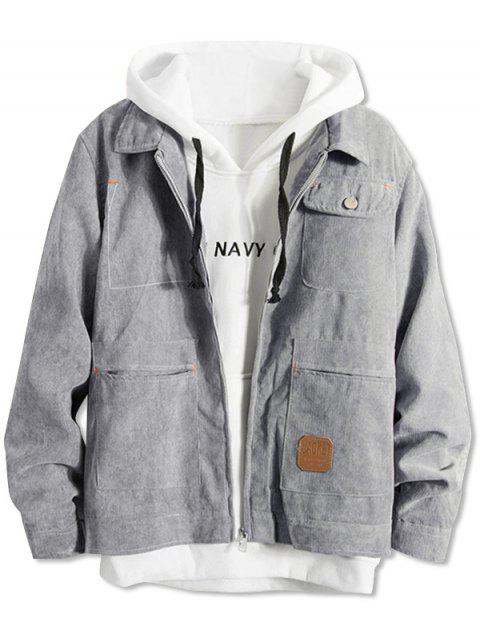 shop Pockets Corduroy Zipper Jacket - GRAY S Mobile