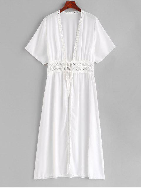 hot Crochet Tie Front Longling Cover Up - WHITE L Mobile