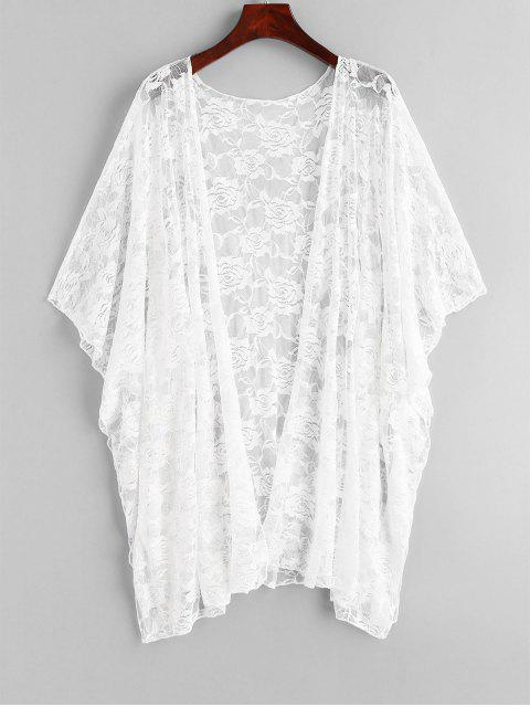 sale Floral Lace Batwing Sleeve Cover Up - WHITE ONE SIZE Mobile