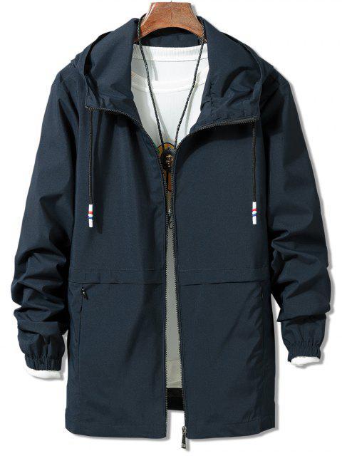 Veste Coupe Vent Zippée en Couleur Unie - Bleu XL Mobile
