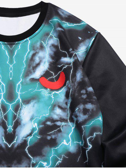 T-Shirt Grafica Di Lupo Con Maniche Lunghe - Nero S Mobile