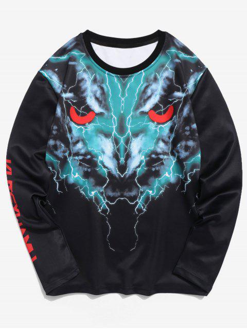 Camiseta de manga larga con estampado 3D de lobo - Negro XL Mobile