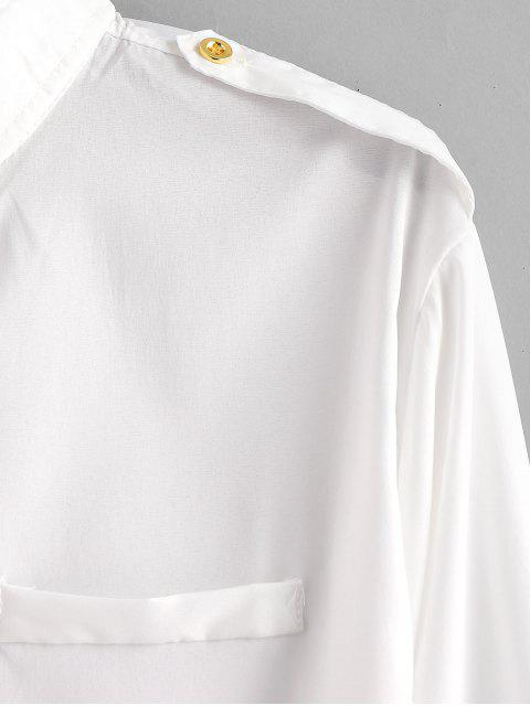 unique Patchwork Button Epaulette Shirt - WHITE XS Mobile