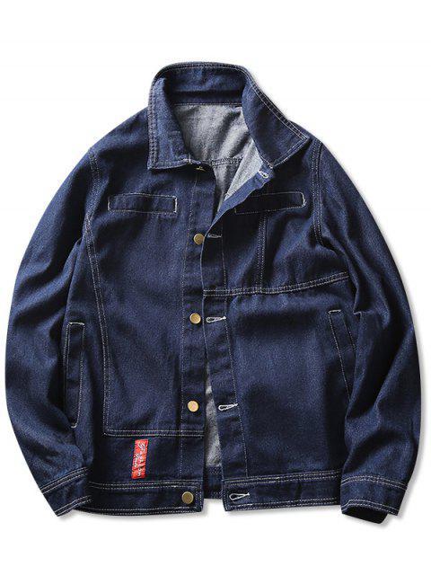 ladies Contrast Stitched Denim Jacket - BLUE S Mobile