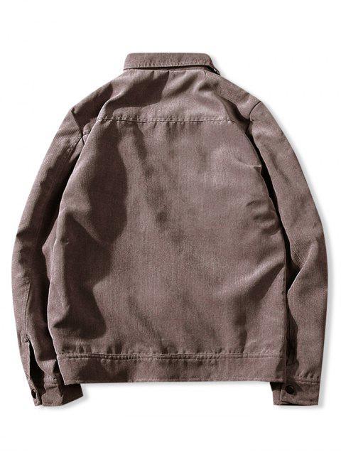 latest Vintage Lapel Pocket Button Up Jacket - COFFEE XS Mobile