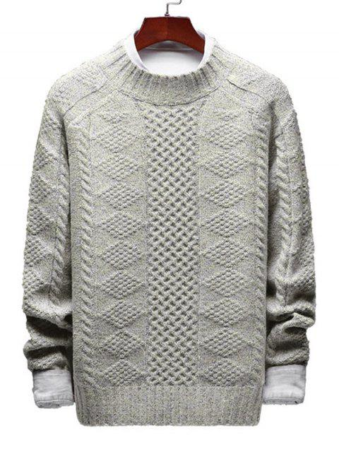 unique Geometric Cable Knit Sweater - WARM WHITE S Mobile