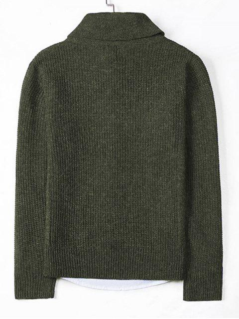 womens Solid Shawl Collar Knit Sweater - ARMY GREEN S Mobile