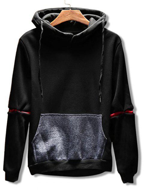 Sudadera Con Capucha De Color Contraste Con Bolsillo - Negro M Mobile