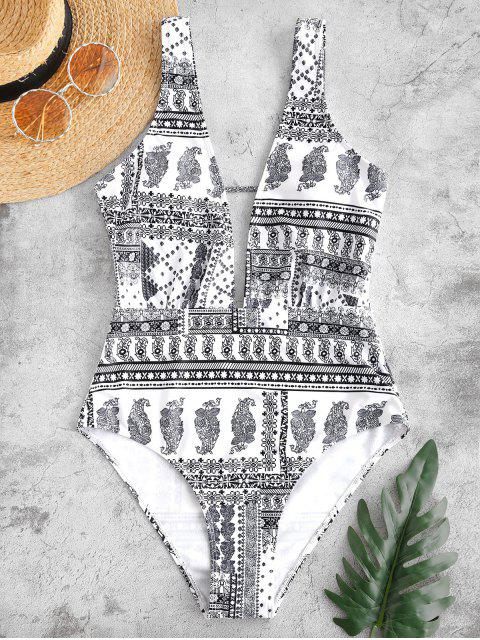 sale ZAFUL Retro Printed Plunge One Piece Swimsuit - WHITE M Mobile