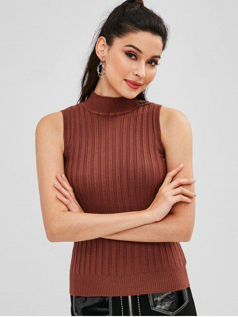 womens Mock Neck Ribbed Sleeveless Knit Top - CHESTNUT ONE SIZE Mobile