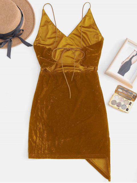 Mini Robe de Soirée à Bretelle Ouvert en Arrière en Velours - Jaune d'Abeille L Mobile