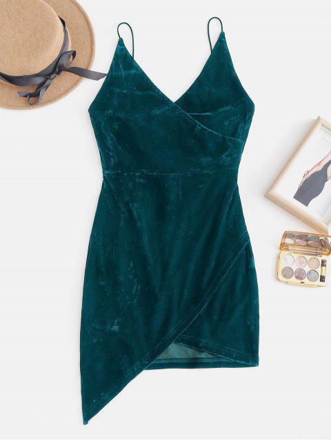 Riemen Offene Rücken Mini-Party Kleid aus Samt - Mittleres Meer Grün M Mobile