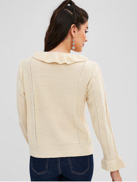 Suéter Pulôver com Nó em Laço e Babado - Branco Quente Um Tamanho Mobile