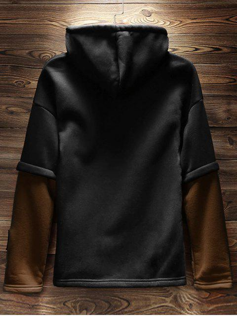 new Colorblock False Two Piece Fleece Hoodie - COFFEE S Mobile