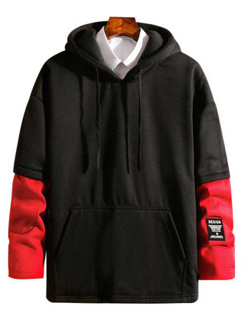 lady Colorblock False Two Piece Fleece Hoodie - RED S Mobile