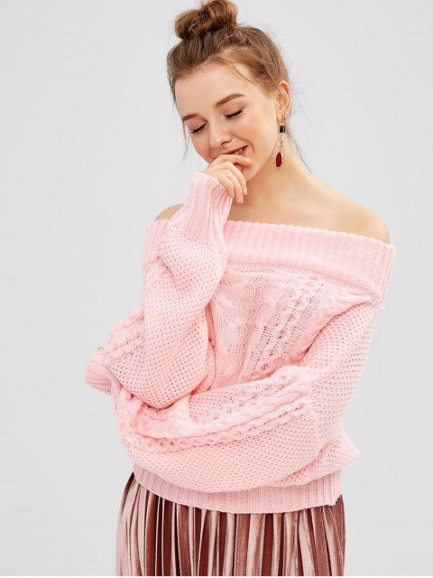 outfit Off Shoulder Cable Knit Dolman Sweater - PIG PINK ONE SIZE Mobile