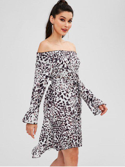 fashion Belted Leopard Off Shoulder Dress - MILK WHITE M Mobile