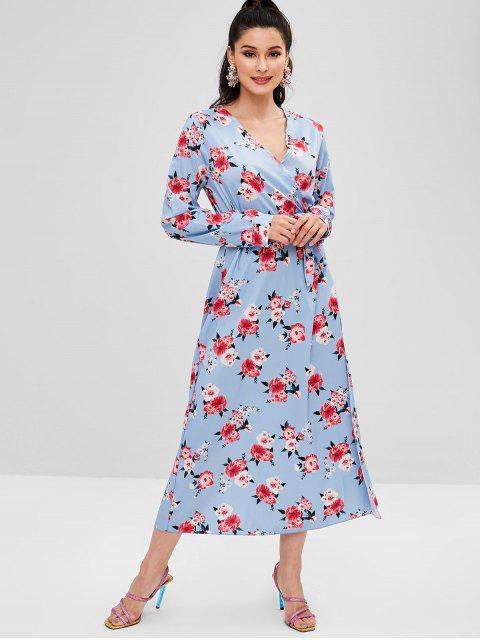 Vestido maxi floral de hendidura surplice - Azul Suave M Mobile
