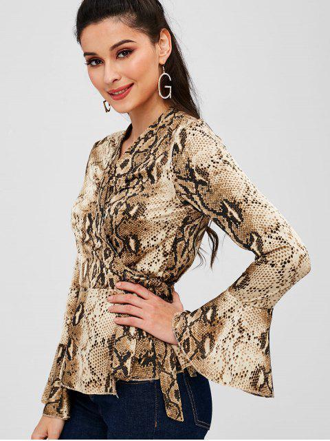 women's Snake Print Bell Sleeve Peplum Wrap Top - MULTI M Mobile
