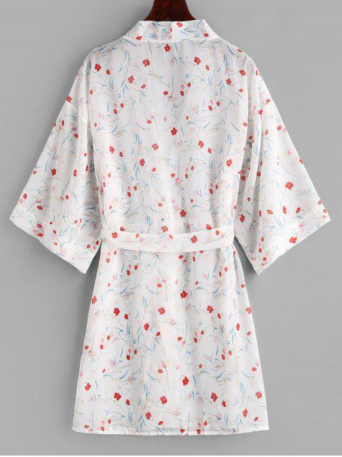 Robe Couverte Kimono Fleur Ceinturée - Blanc XL Mobile