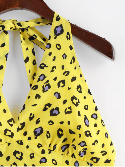 shop ZAFUL Leopard Print Backless Top and Shorts Set - GOLDENROD M Mobile