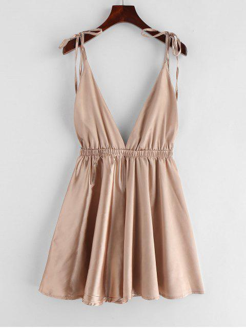 outfits Backless Satin Tie Shoulder Pajama Dress - CHAMPAGNE GOLD L Mobile