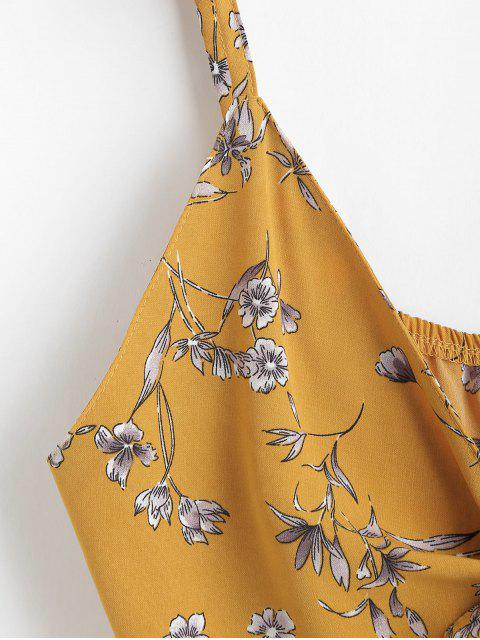 womens Floral Print Tie Front Crop Cami Top - BEE YELLOW S Mobile