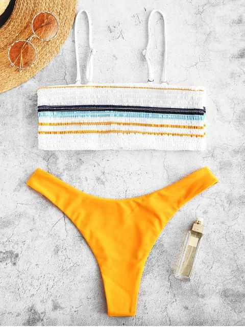 shops ZAFUL Striped Smocked Bikini Set - BEE YELLOW S Mobile