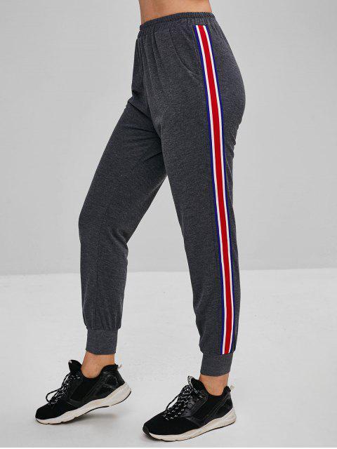 Bolsillos de raya lateral pantalones joggers - Gris XL Mobile