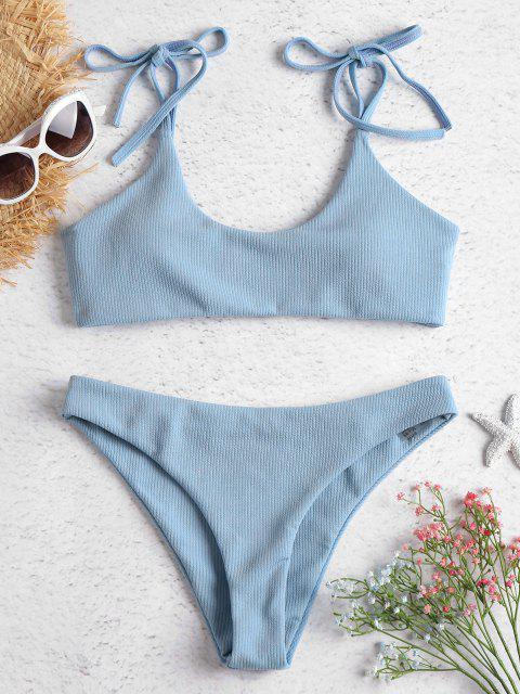 ladies ZAFUL Tie Shoulders Ribbed Bikini - JEANS BLUE L Mobile