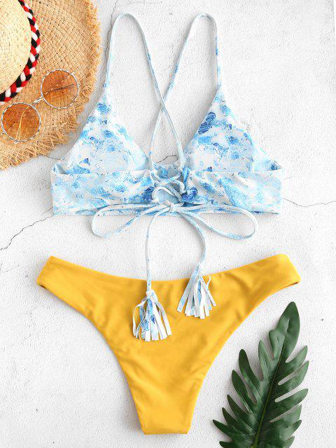 fashion ZAFUL Printed Tassels Criss Cross Bikini Set - BEE YELLOW S Mobile