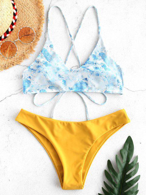 Bikini Criss Cross con Borlas con Estampadas ZAFUL - Amarilla de Abeja  L Mobile