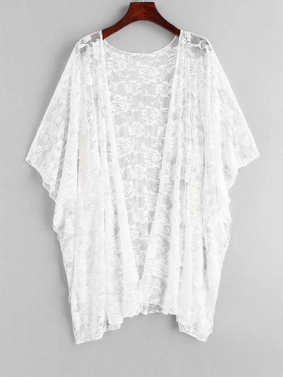 Floral Lace Batwing Sleeve Cover Up