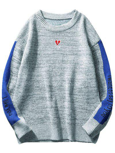 793769979f2918 Contrast Heart Embroidery Knit Sweater - Light Gray S ...