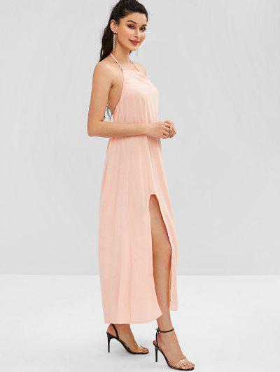2c5956d51a3 ... Halter Slit Open Back Maxi Dress - Deep Peach S