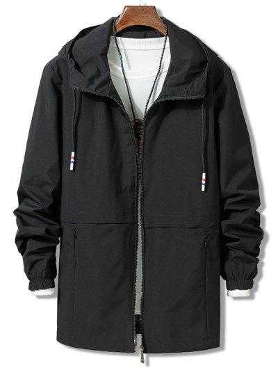 Solid Zipper Windbreaker Jacket - Black L