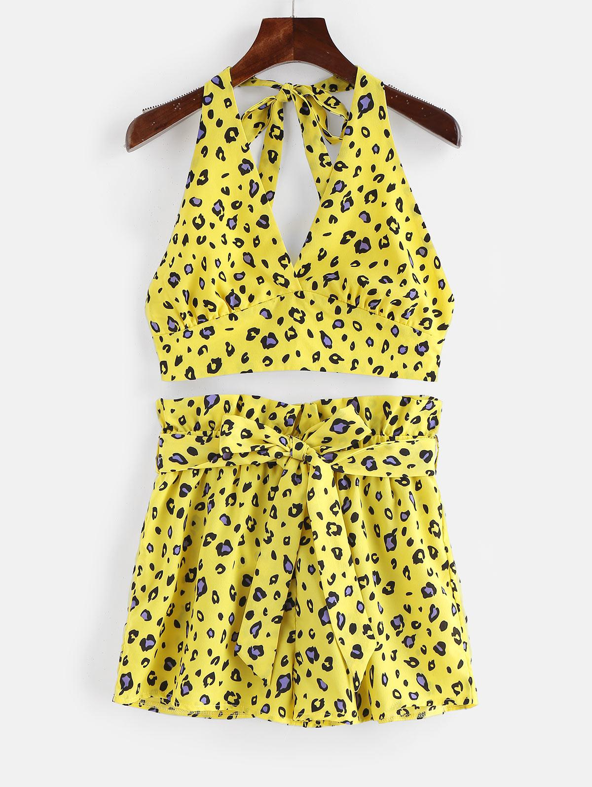 ZAFUL Stampa Leopardo Backless Top e Pantaloncini Set