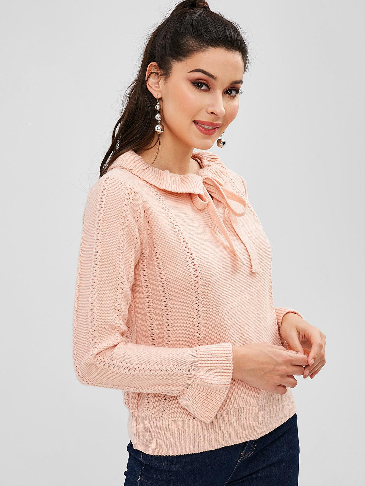 Ruffles Bow Tie Pullover Sweater, Light pink