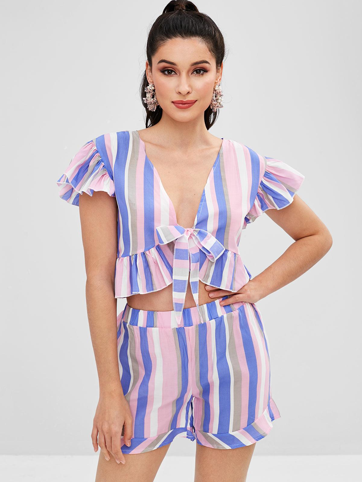 Tie Front Crop Top and Shorts Two Piece Set