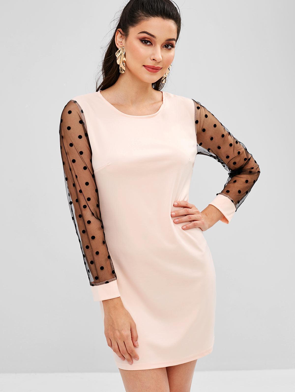 Polka Dot Mesh Sleeve Shift Mini Dress